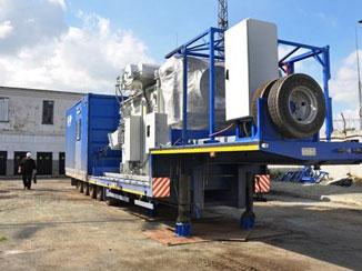 Модульная мобильная подстанция (ММПС) 110/20 (10) кВ мощностью 25МВА наружного исполнения на платформах полуприцепов.